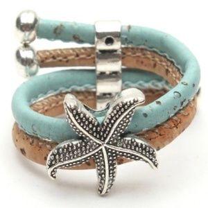 Natural Cork Starfish Ring Adjustable Turquoise